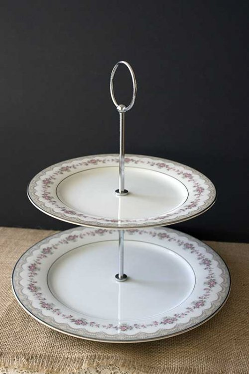 Event prop hire 2 tier high tea cake stand