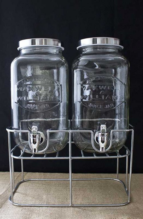 Event prop hire Maxwell williams twin glass drink dispensers on stand