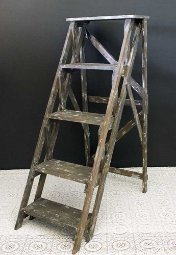 Event prop hire rustic wooden display ladder small
