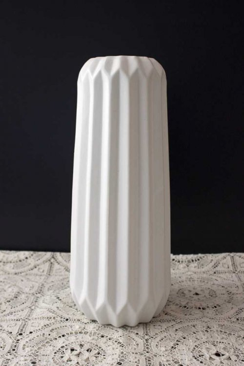 Event prop hire tall white geometric vase_Event_Styling_Sydney