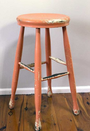 Event prop hire vintage retro painted timber stool