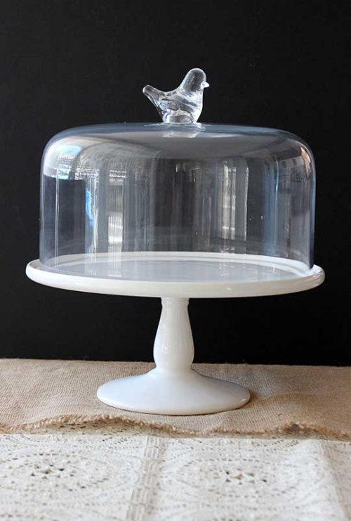 Event prop hire white cake stand with glass cloche