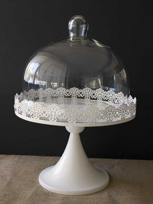 Event prop hire white lace cake stand with glass cloche