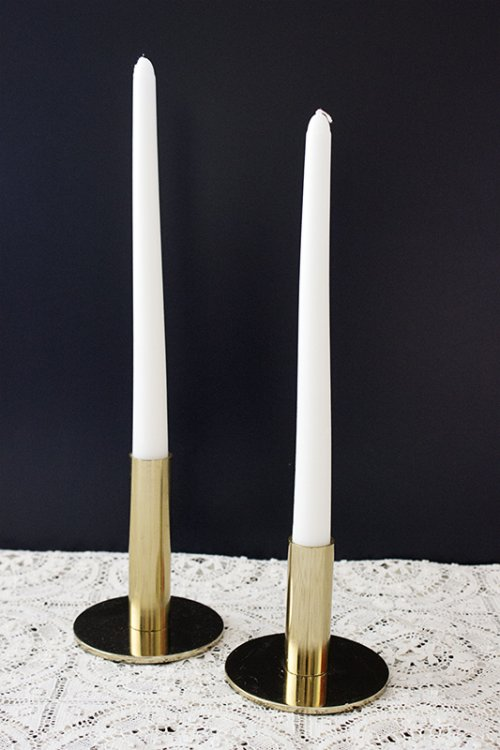Hire_shiny brass candlesticks