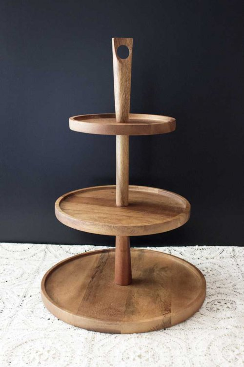 Event prop hire 3 tiered acacia timber cake stand_Event_Styling_Sydney