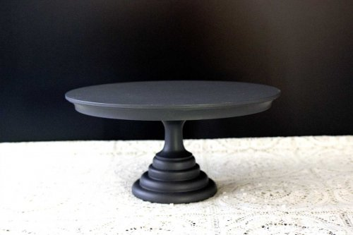 Event prop hire black painted short cake stand_Event_Styling_Sydney