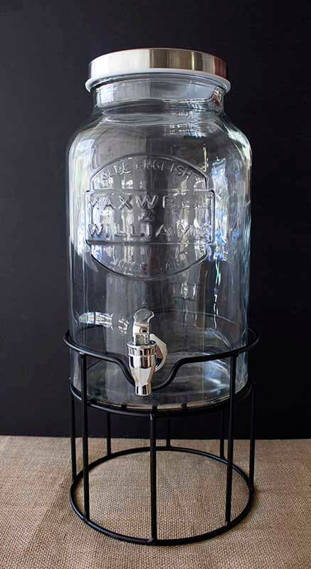 Event prop hire round glass drink dispenser on stand
