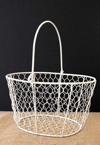 Event prop hire white wire basket