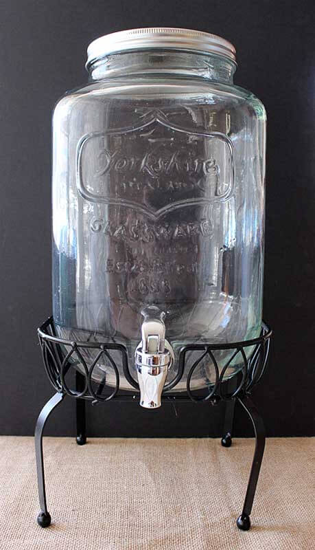 Event prop hire yorkshire glass drink dispenser on stand
