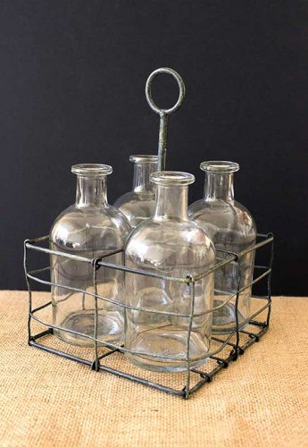 Sydney Event prop hire small glass bottle vase set with metal caddy