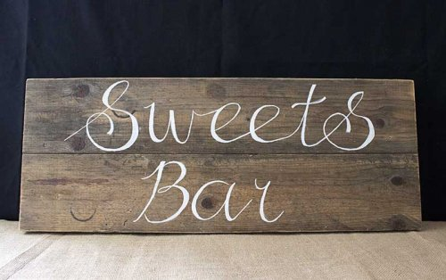Sydney event prop hire wood sweets bar sign